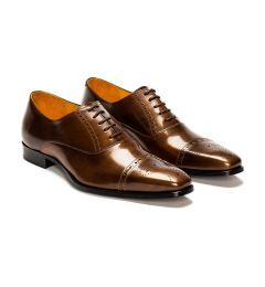 A custom made half brogue leather oxford shoe, bronze with brown laces and brown stitching. (Side 2 View)