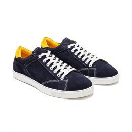 A custom made suede sneaker, dark blue with white laces and white stitching. (Side 2 View)