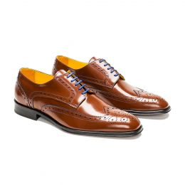A custom made brogue leather derby shoe, brown with blue laces and blue stitching. (Side 2 View)