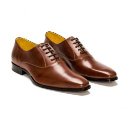 A custom made leather oxford shoe, brown with black laces and brown stitching, (Side 2 View)
