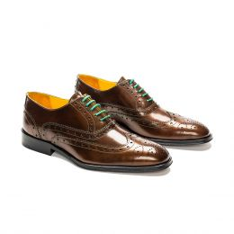 A custom made brogue leather oxford shoe, bronze with green laces and stitching. (Side 2 View)