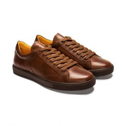 A custom made leather sneakers, brown with brown laces and brown stitching. (Side 2 View)