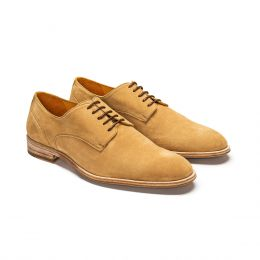 A Custom made wholecut suede derby shoe, camel with brown laces. (Side View)