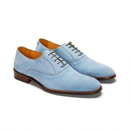 A Custom made wholecut suede oxford shoe, blue with brown laces. (Side View)
