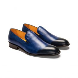 A Custom Made Leather Loafer Shoe, Blue with Blue stitching. (Side2 View)