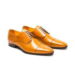 A Custom Made Cap Toe Leather Derby Shoe, Cognac with brown laces and stitching. (Side2 View)