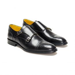 A custom made half brogue leather monk strap shoe, black with black stitching. (Side 2 View)