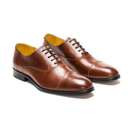 A Custom Made Cap Toe Leather Shoe, mahogany with brown laces and beige stitching. (Side 2 View)