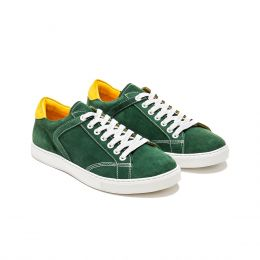 A custom made suede sneaker, dark green with white laces and white stitching. (Side 2 View)