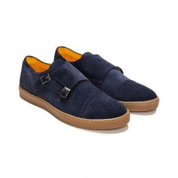 A custom made suede monk strap sneaker, blue with blue stitching. (Side 2 View)