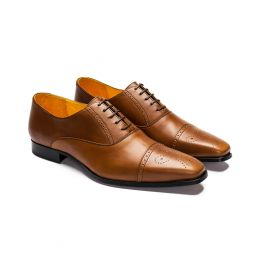 A custom made leather half brogue oxford. Bespoke handmade with camel Calf Leather. (Side View)