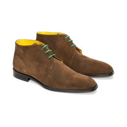 A custom made suede chukka boot, brown with green laces and green stitching. (Side 2 View)
