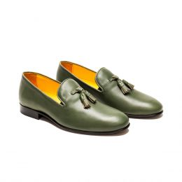 A Custom Made Leather Loafer Shoe, Green with White stitching. (Side2 View)