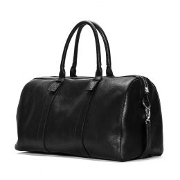 A Leather Holdall, brown with a long strap. (Side View)
