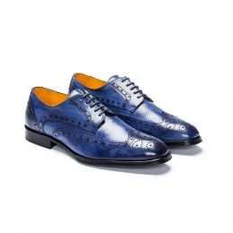 Leather Cap Toe Shoe, Blue Patina with blue laces and blue stitching. (Side View)