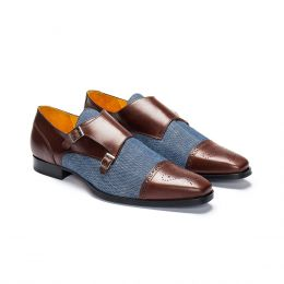 Custom Made leather monk strap shoe, chocolate with blue canvas. (Side View)