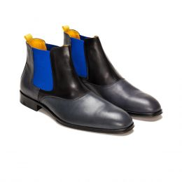A Custom Made Leather Chelsea boot, grey with blue elastic and black stitching. (Side 2 View)