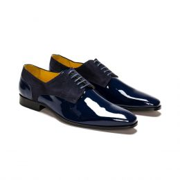 A Custom made leather derby shoe, Blue with blue laces an blue stitching. (Side 2 View)