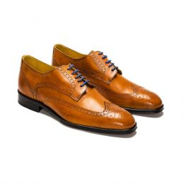A Custom made brogue leather derby shoe, cognac with blue laces and brown stitching. (Side 2 View)