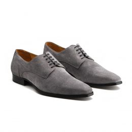 A Custom made suede derby shoe, grey with grey laces and grey stitching. (Side 2 View)