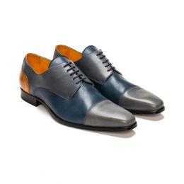 A Custom Made Cap Toe Leather Derby Shoe, Blue and Grey with blue laces and blue stitching. (Side 2 View)