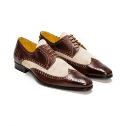 A Custom made Brogue Suede Derby Shoe, Chocolate and Sand with brown laces and Brown stitching. (Side2 View)