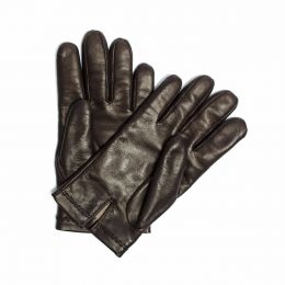 Cashmere-Lined Leather Gloves Brown