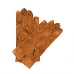 Suede Gloves Cognac