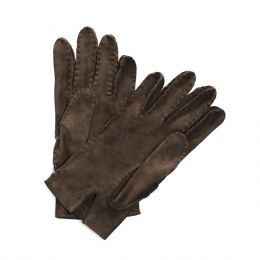 Suede Gloves Dark Brown