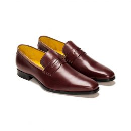 A Custom made leather loafer shoe, brown with brown stitching. (Side 2 View)