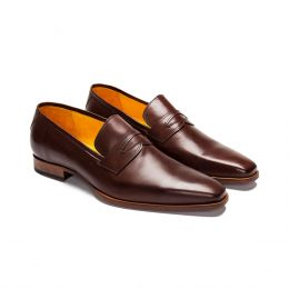 A custom made leather Plain Loafer. Bespoke handmade with chocolate Calf Leather. (Side View)