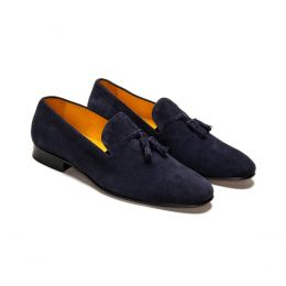 A Custom Made Suede Loafer Shoe, blue with blue stitching. (Side 2 View)