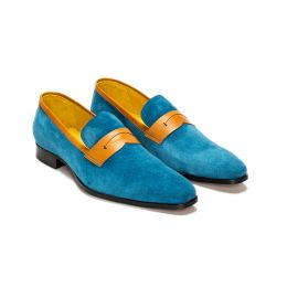 Custom made suede loafer shoe, blue with blue stitching. (Side 2 View)