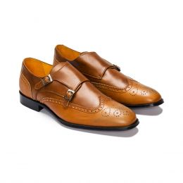 A Custom Made Brogue leather Monk Strap Shoe, Camel and Brown with black stitching. (Side 2 View)