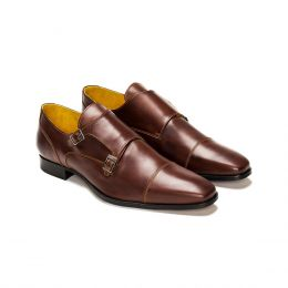 A Custom made cap toe leather Monk Strap Shoe, Brown with light brown stitching. (Side 2 View)