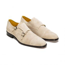 A custom made suede monk strap shoe, sand with beige stitching. (Side 2 View)