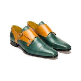 A custom made leather monk strap shoe, green and cognac with brown stitching. (Side 2 View)