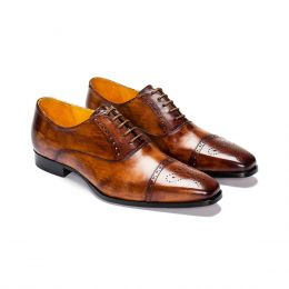 A Custom Made Half Brogue Leather Oxford Shoe, Brown Patina with brown laces and brown stitching. (Side2 View)