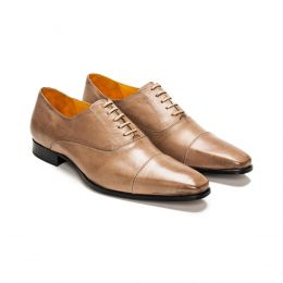 A Custom Made Cap Toe Leather Oxford Shoe, Desert sand with beige laces and beige stitching. (Side 2 View)