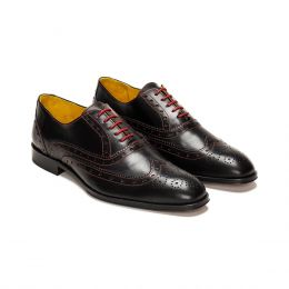 A Custom Made Brogue Leather Oxford Shoe, Black with red laces and red stitching. (Side 2 View)