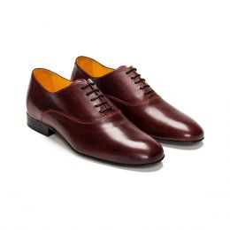 A Custom Made Leather Oxford Shoe, Brown with black laces and red stitching. (Side 2 View)