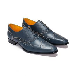 A Custom Made Brogue Leather Oxford Shoe, Dark Blue with dark blue laces and dark blue stitching. (Side2 View)