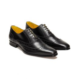 A Custom Made brogue leather oxford shoe, black with black laces and black stitching. (Side 2 View)