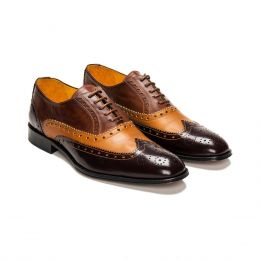 A Custom Made Brogue Leather Oxford Shoe, Brown and Camel with Brown laces and orange stitching. (Side 2 View)