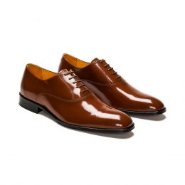 A Custom Made leather oxford shoe, brown with brown laces and brown stitching. (Side 2 View)