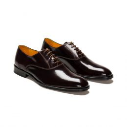 A Custom made leather oxford shoe, Bordeaux with light brown laces and light brown stitching. (Side 2 View)