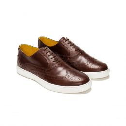 A custom made brogue leather oxford sneaker, brown with brown laces and brown stitching. (Side 2 View)