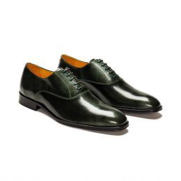 A Custom made leather oxford shoe, green with gree laces and green stitching. (Side 2 View)