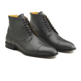 A Custom Made Cap Toe Leather Boot, Black with black laces and black stitching. (Side 2 View)