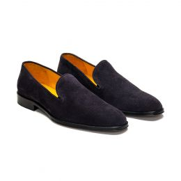 A Custom Made Suede Loafer Shoe, black with black stitching. (Side View)